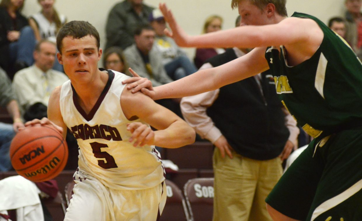 Soroco junior Eric Logan slices down the baseline in the second half of the Rams' home-opening win versus South Park on Saturday evening, 43-29. Logan finished the game with six points and seven rebounds.