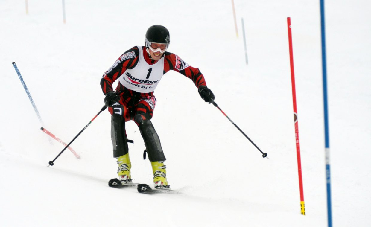 University of New Mexico's Mark Miller slipped from first to fifth between his first and second runs Sunday at the Holiday Classic.
