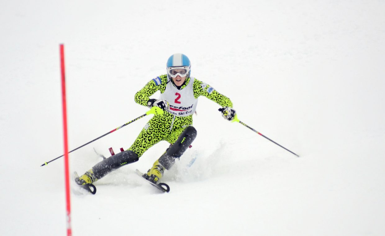 Argentina's Macarena Simari Birkner had a top first-run time but slipped to third overall after her second run at the Holiday Classic.
