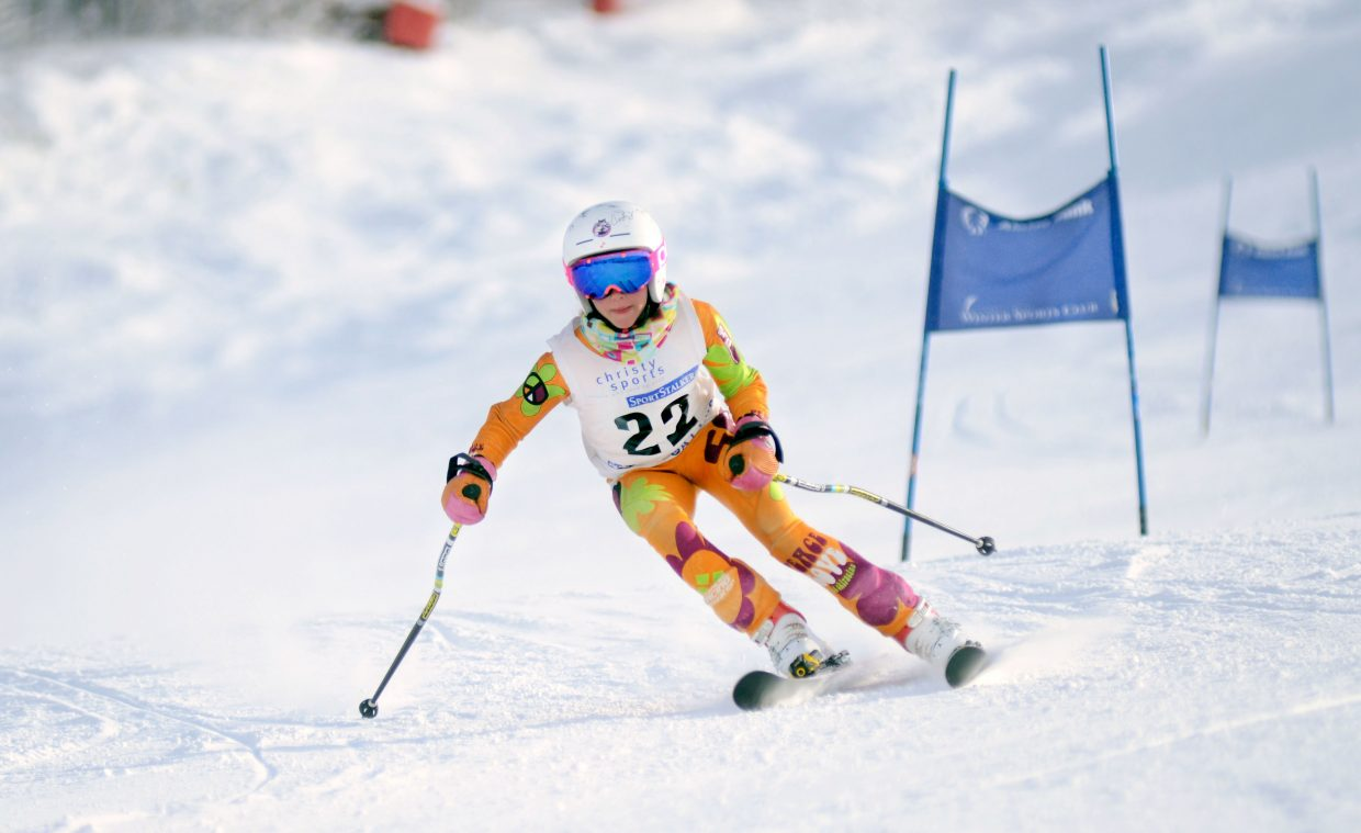 Ryli Adrian was the U12 girls class top finisher Saturday at the Steamboat Cup opener.