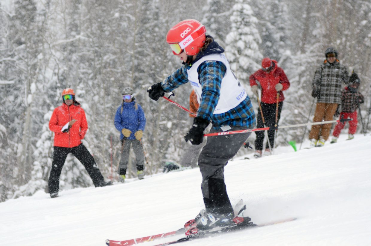 Adaptive ski racer Jack Holm flies down Bashor at Steamboat Ski Area during the adaptive open division of the Steamboat Cup U10 competition.