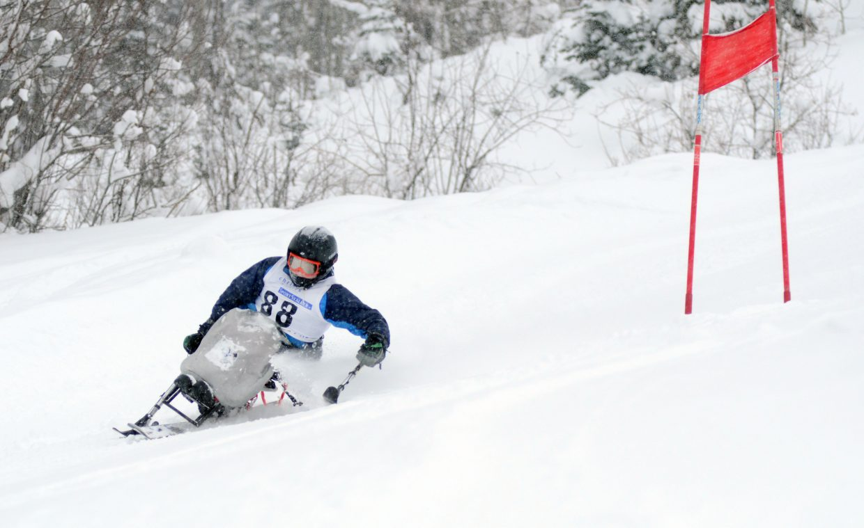Steamboat Adaptive Recreational Sports development racing team member Kyle Taulman makes his way down the giant slalom course at Steamboat Ski Area's Bashor Bowl. The STARS development racing team has grown in just its second season, starting with five skiers last year to 10 this winter.