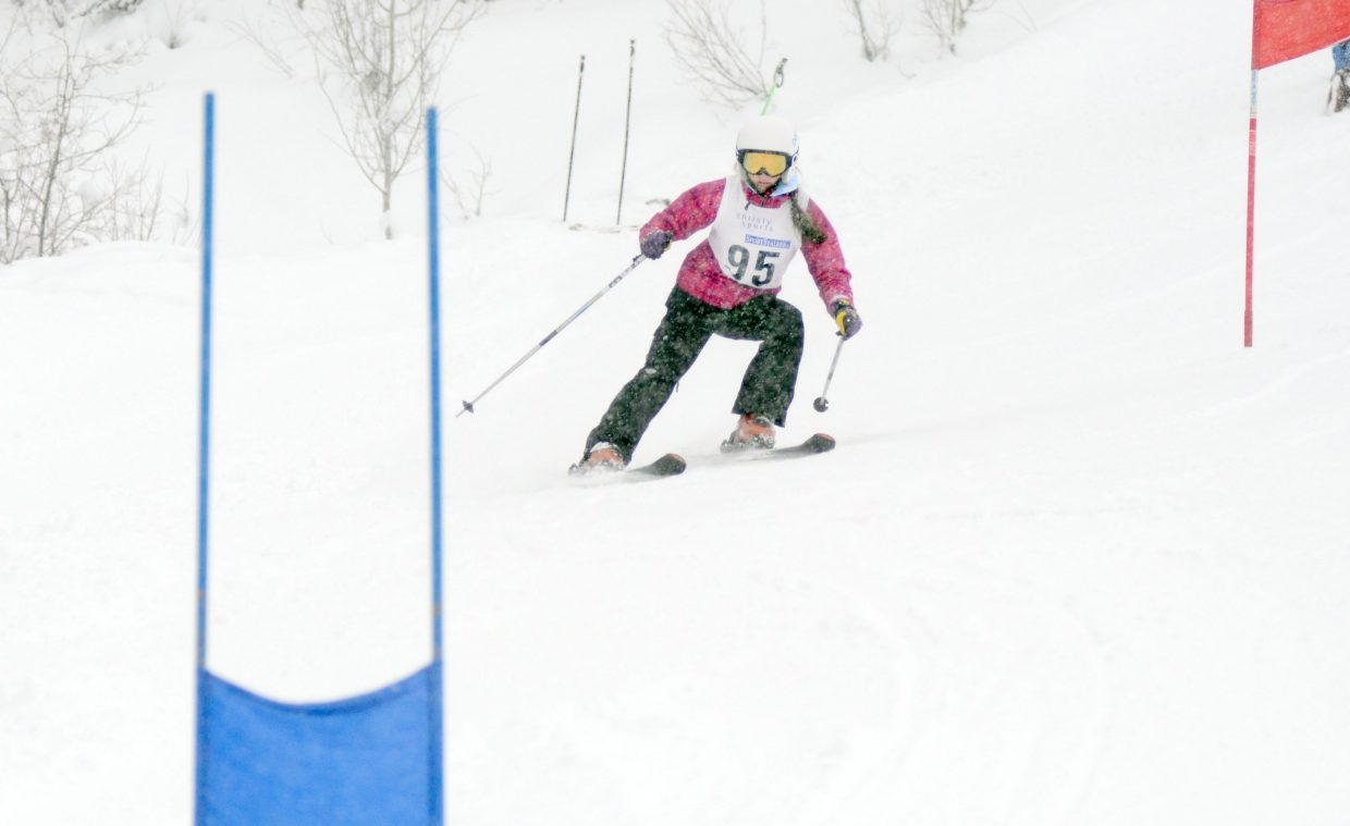 Steamboat Adaptive Recreational Sports development racing team member Paige VanArsdale competes in a giant slalom race Sunday at Steamboat Ski Area.