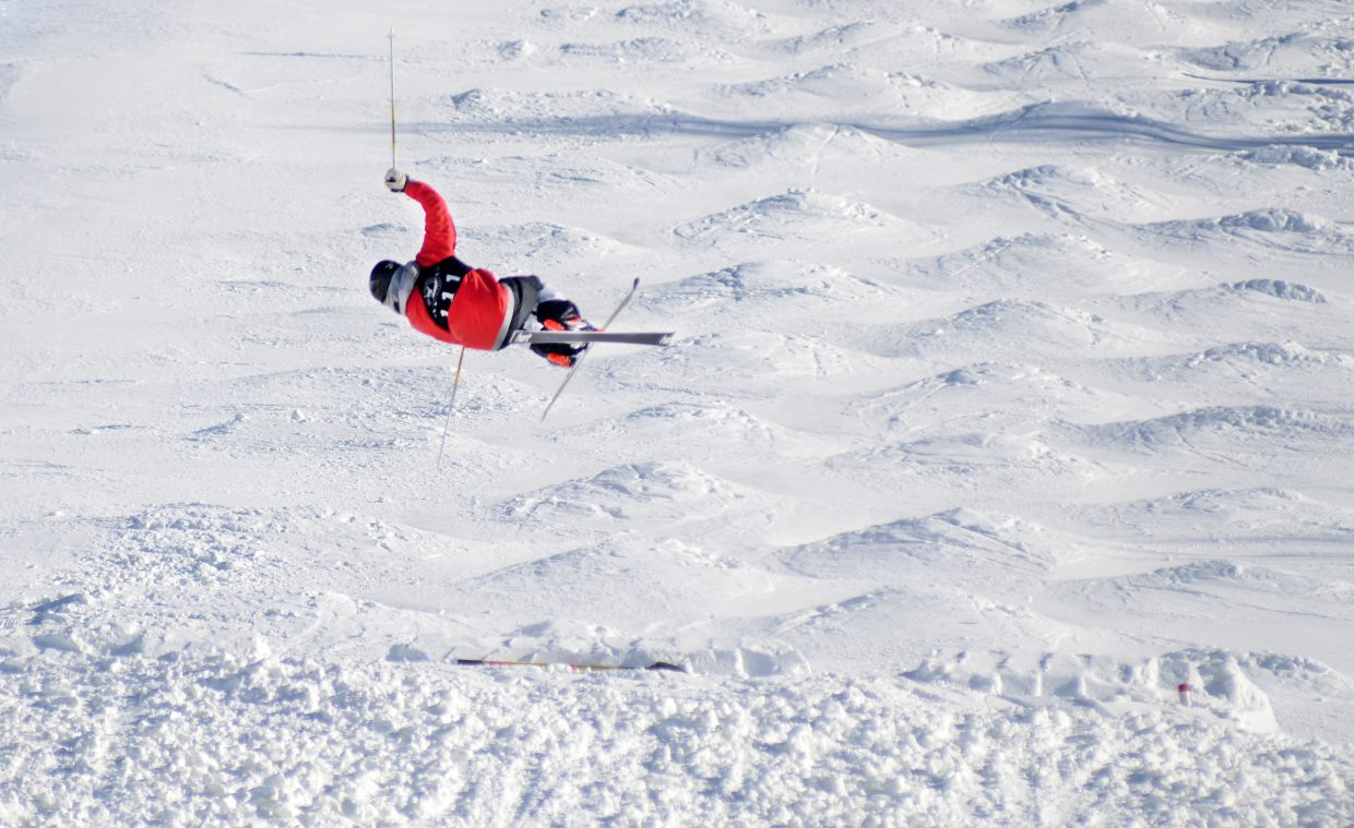 Winter Park's Casey Andringa gets up for a trick Friday during training for this weekend's Ski Town USA Freestyle competition, held Saturday, Sunday and Monday at Steamboat Ski Area's Voo Doo course.
