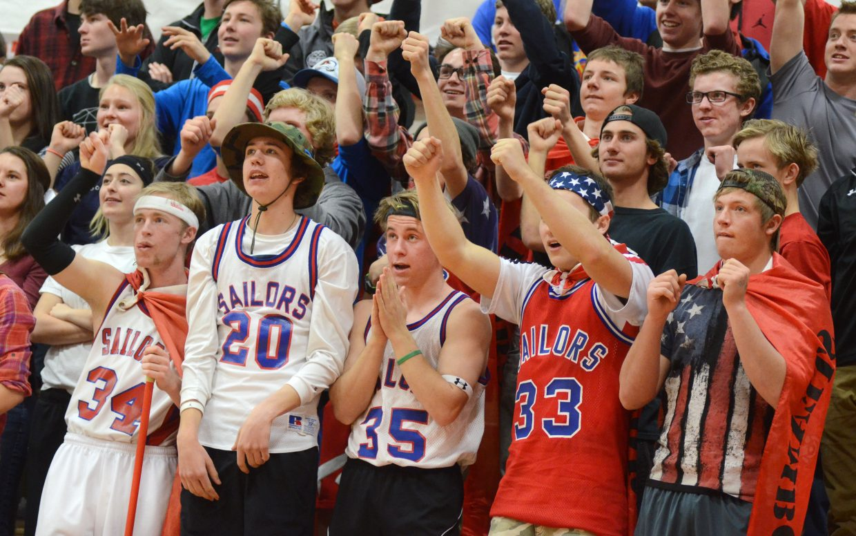 The Steamboat Springs High School student section watches late Sailors free throws during the team's home loss to Glenwood Springs on Saturday.