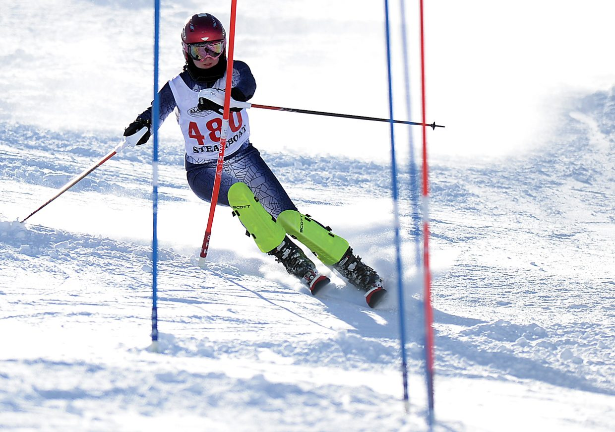 Steamboat Springs High School senior Lindsey Adler skies down Howelsen Hill in the Sailors' home Alpine race last winter. Adler is one of seven seniors who will make Friday their high school home finale as the team hosts seven schools.