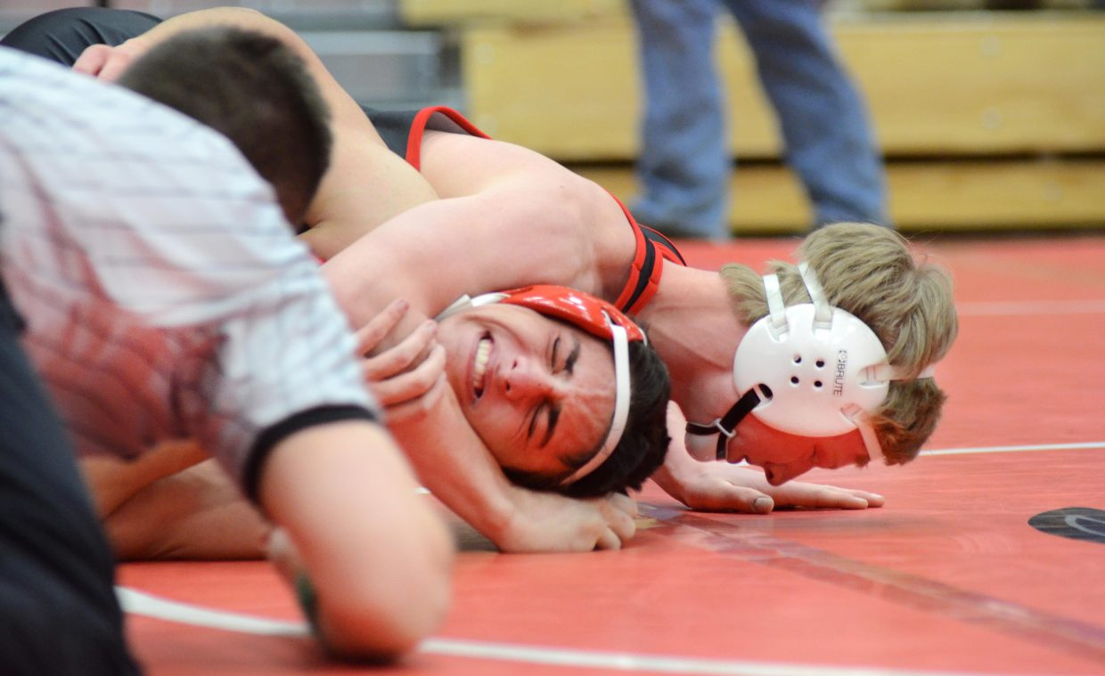 Steamboat Springs freshman Hayden Johnson gets Eagle Valley's Justin Morrison in a grave situation during the pair's 152-pound match on Saturday at the Sailors' Carl Ramunno Invitational. Johnson went on to win the weight class and Steamboat won the tournament.