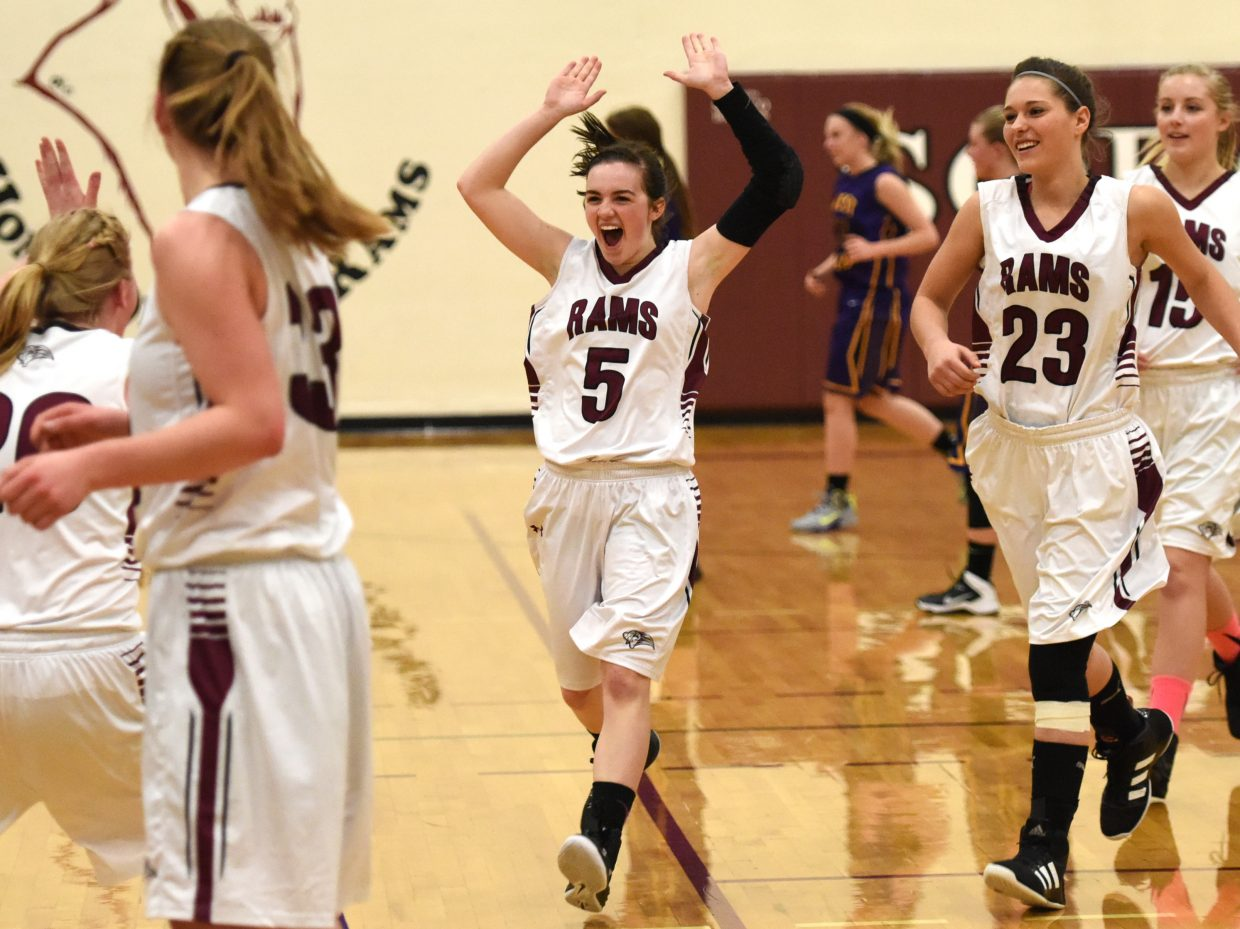 Soroco senior Hayley Johnson, No. 5, sprints off the court in jubilation after the Rams girls team downed West Grand on Saturday. It was a huge rebound win for Soroco, which had lost to the Mustangs just a few weeks prior.