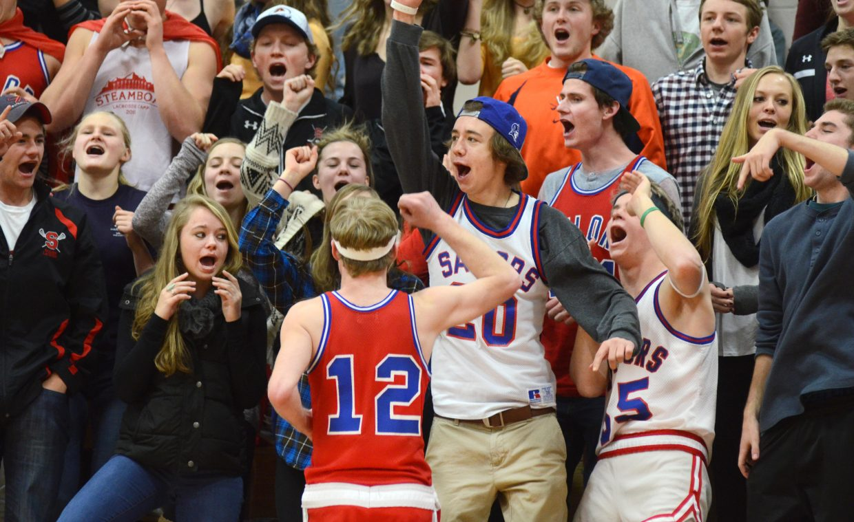 The Steamboat Springs High School student section gets rowdy in the fourth quarter of the Sailors boys basketball game on Saturday against Palisade. Steamboat overcame a rough start to beat Palisade, 55-47.