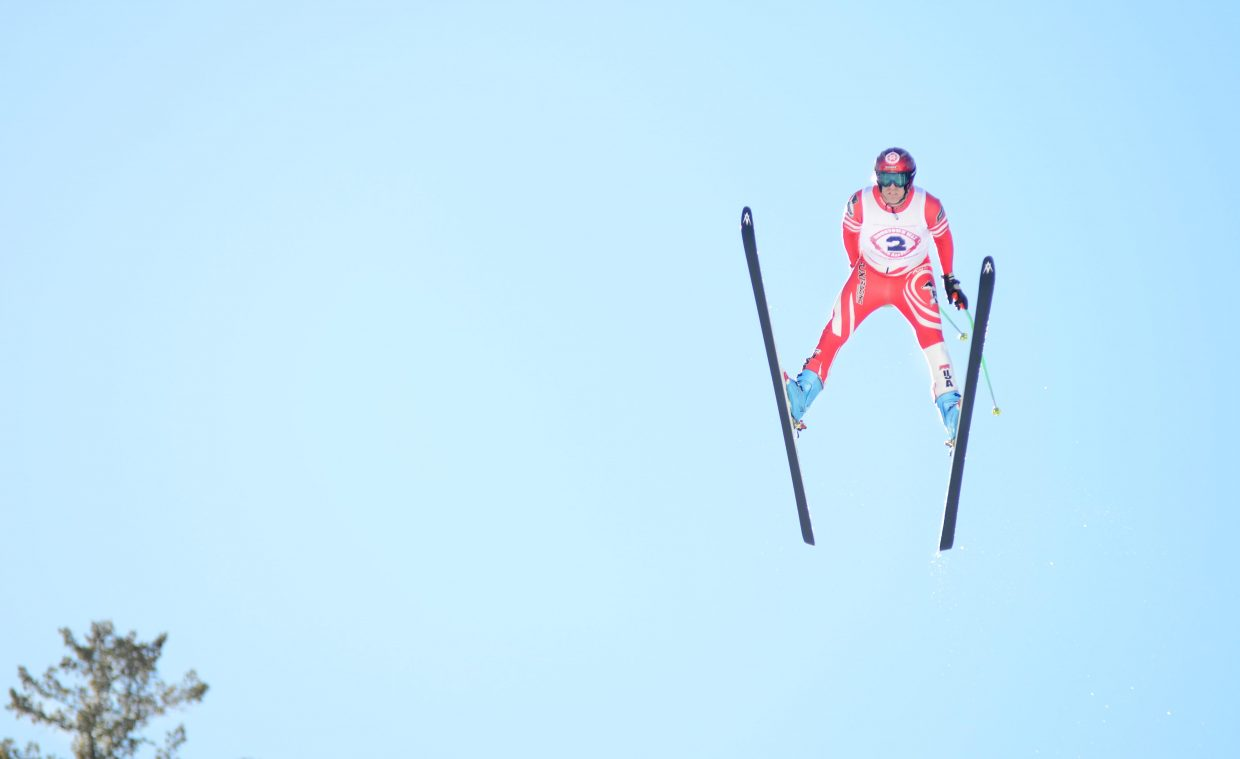 Steamboat Springs Winter Sports Club jumping coach Pat Arnone flies off Howelsen Hill's HS-127 Sunday during the Winter Carnival's Pro Alpine ski jumping finals. Eight jumpers competed Sunday, and Arnone finished third.