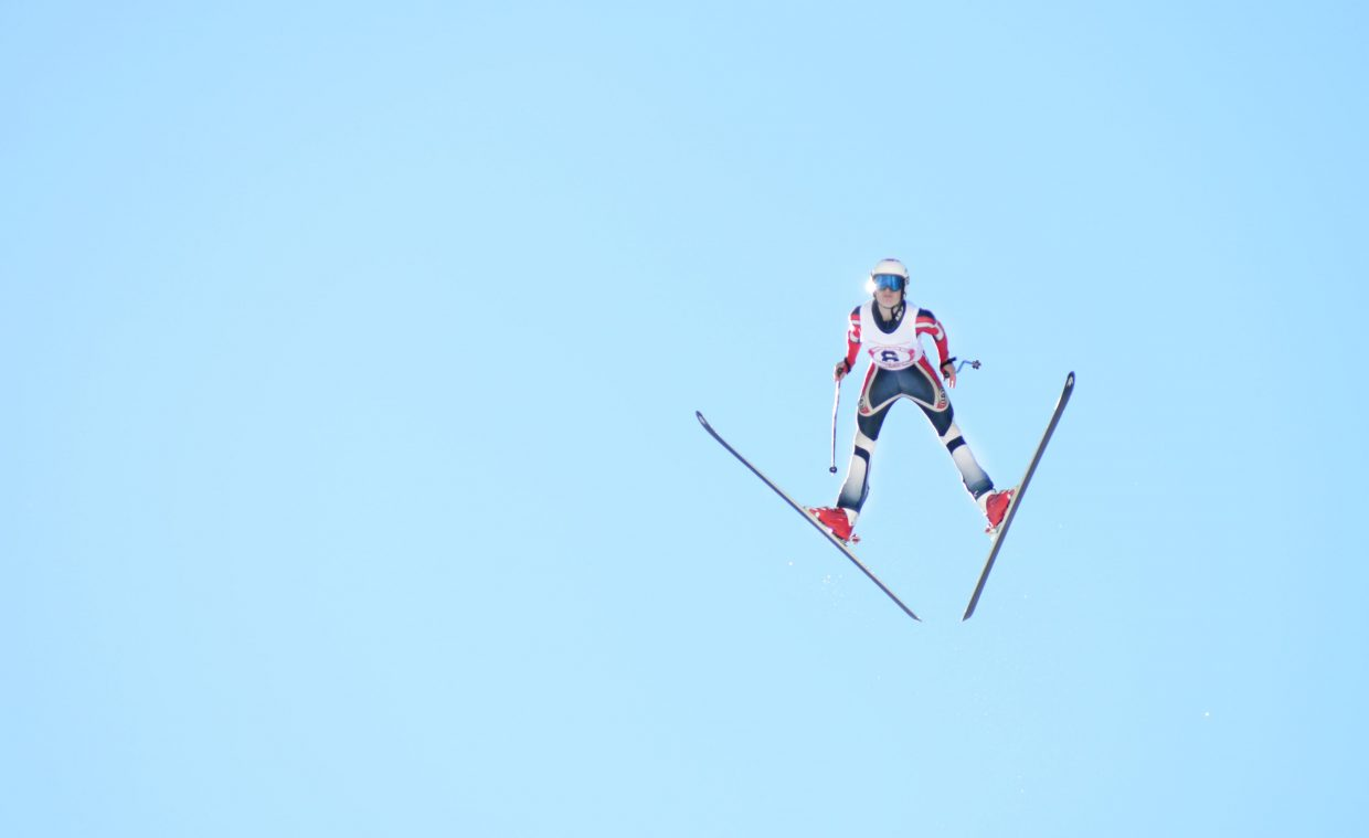 Salt Lake City's Josh Hanson flies down Howelsen Hill's HS-127 during Sunday's Pro Alpine ski jumping finals. Hanson won the event with a jump of 108 meters.