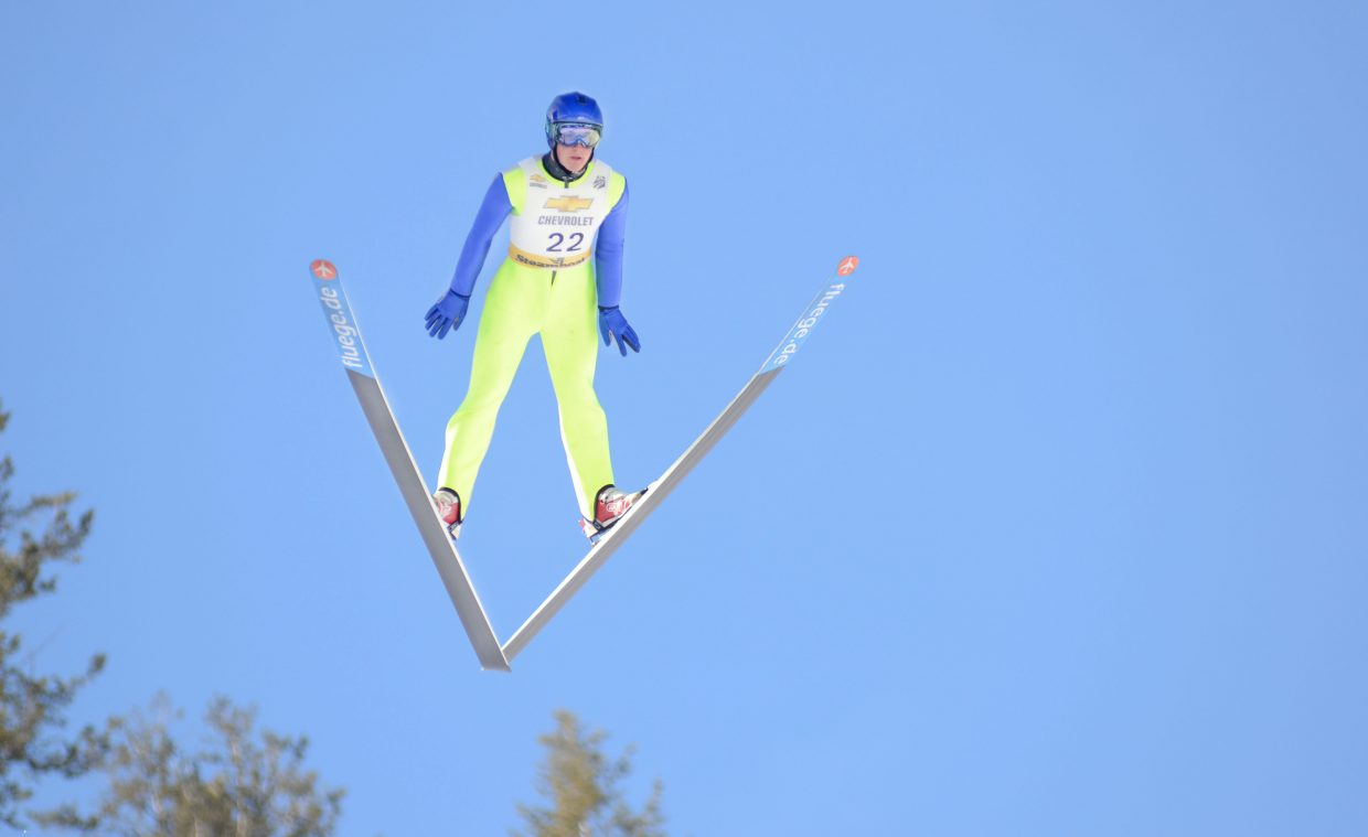 Steamboat Springs WInter Sports Club athlete Grant Andrews gets airborne during competition Saturday at Howelsen Hill. Andrews took third in the HS-100 special jumping event.