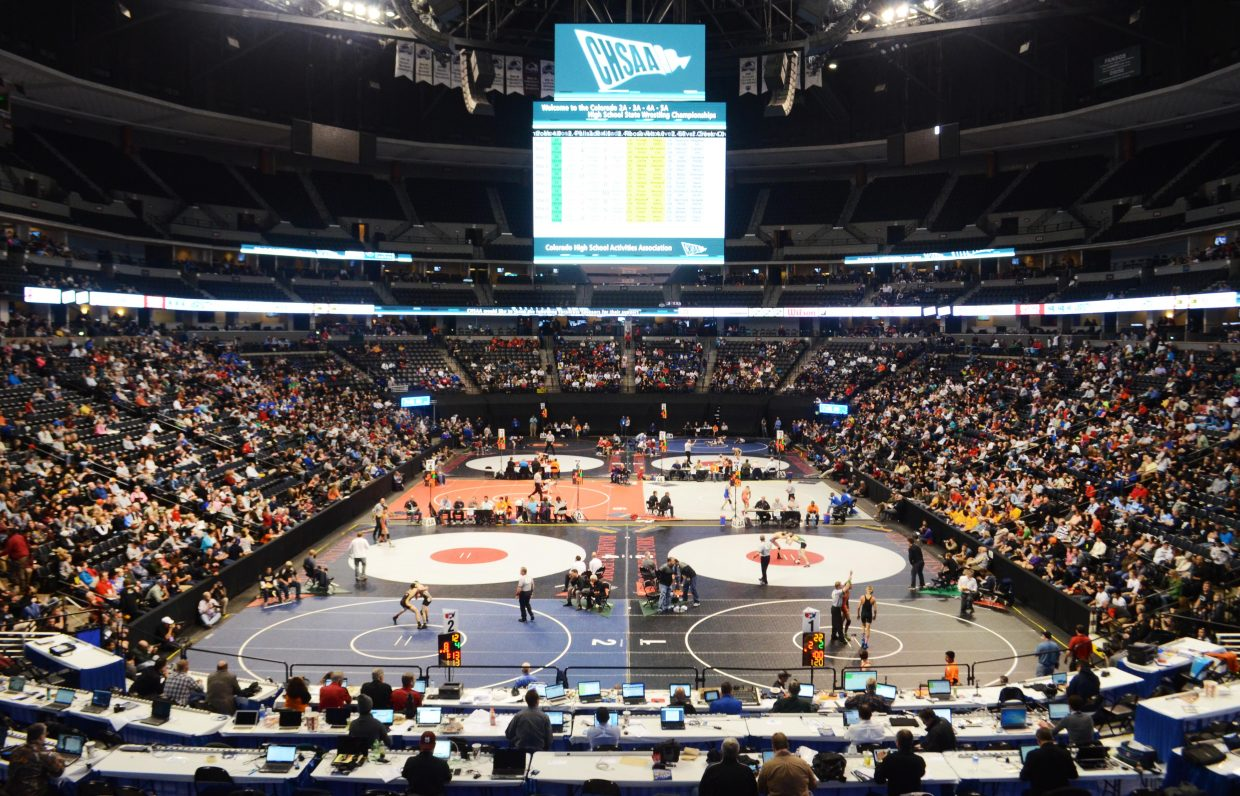 With a 10-mat makeover, Denver's Pepsi Center turns into a must-see spectacle when the state wrestling championships begin.