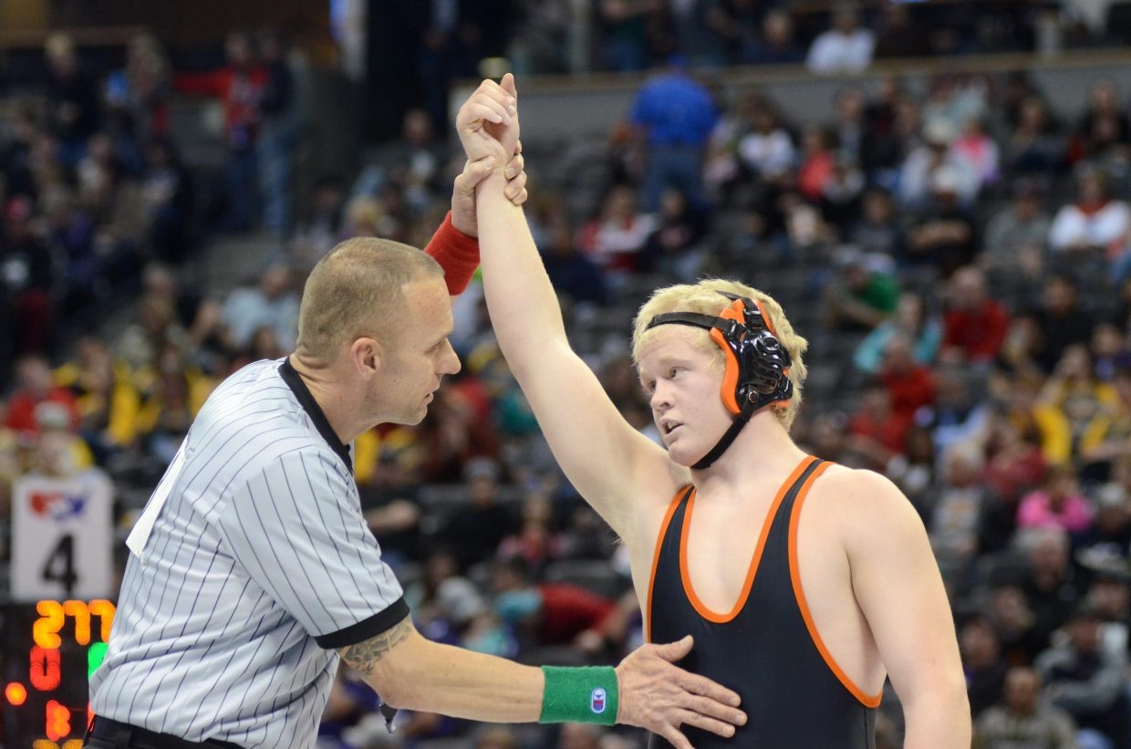Hayden sophomore Christian Carson is moving on in the Class 2A 195-pound bracket at the state wrestling championships. Carson knocked off Cedaredge's Tre' LaBossiere to stay alive for a medal when the championships wrap up on Saturday.
