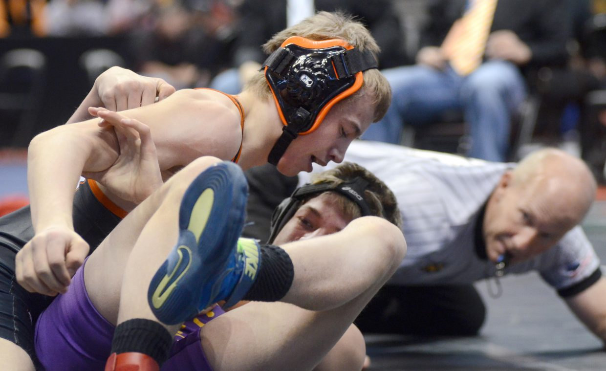 Hayden's Tate Montieth works toward the top of Centauri's Brian Shawcroft in the consolation quarterfinal of the 2A state wrestling championships on Friday.