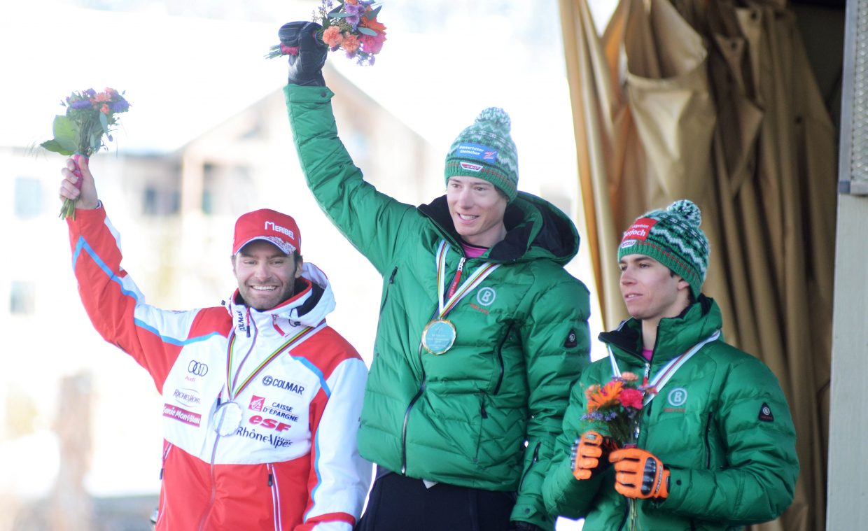 Germany's Tobias Mueller, middle, celebrates his 2015 FIS Telemark World Championships classic race victory on Friday at Steamboat Ski Area. Mueller not only won the Day 4 classic race, but he was also crowned the overall world champion.