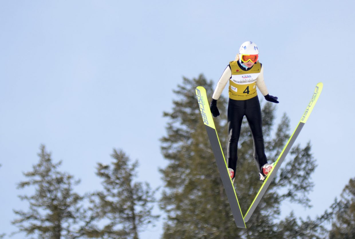 Rocky Mountain Division's Annika Belshaw had a good opening day at the 2015 Ski Jumping and Nordic Combined Junior Nationals. The Winter Sports Club product took second in the U16 women's special jumping competition, just behind Central's Cara Larson.