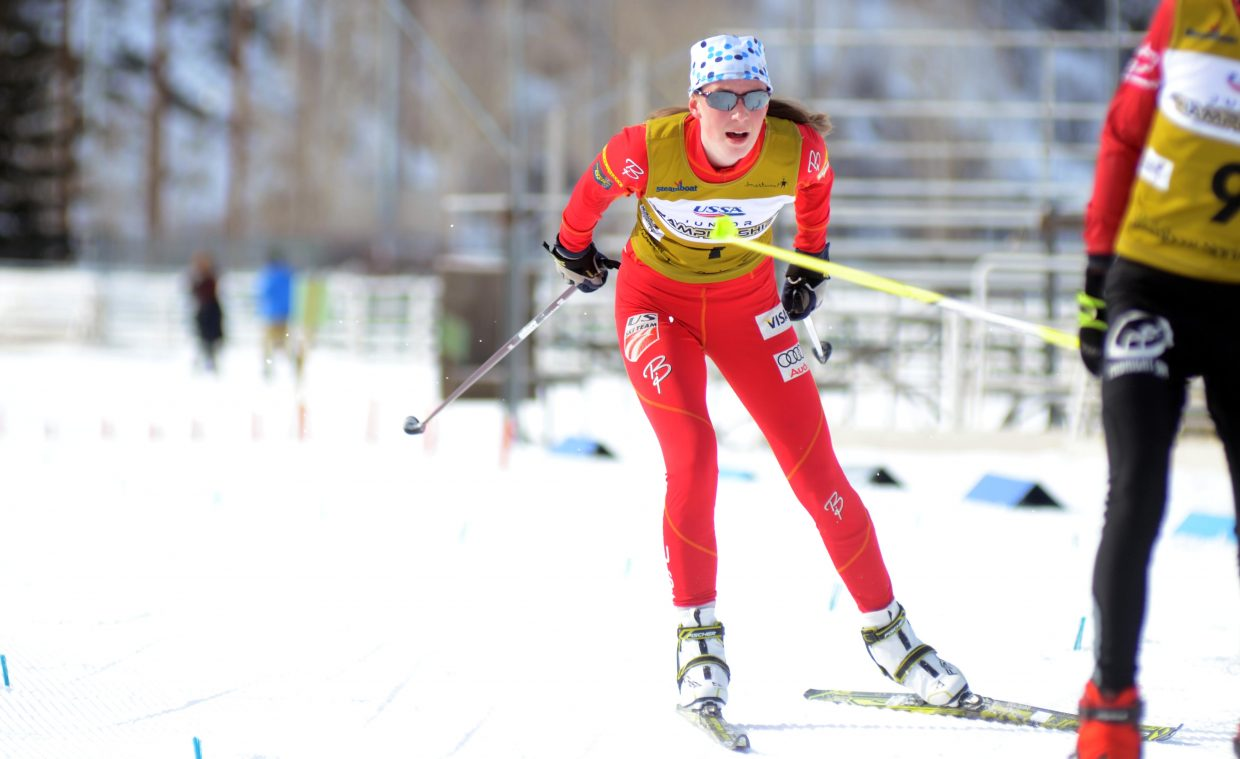 Rocky Mountain Division's Esther Rose DelliQuadri won the U16 women's Nordic combined competition uncontested, and was fifth in the same age class for special jumping in the first day of the 2015 Ski Jumping and Nordic Combined Junior Nationals.