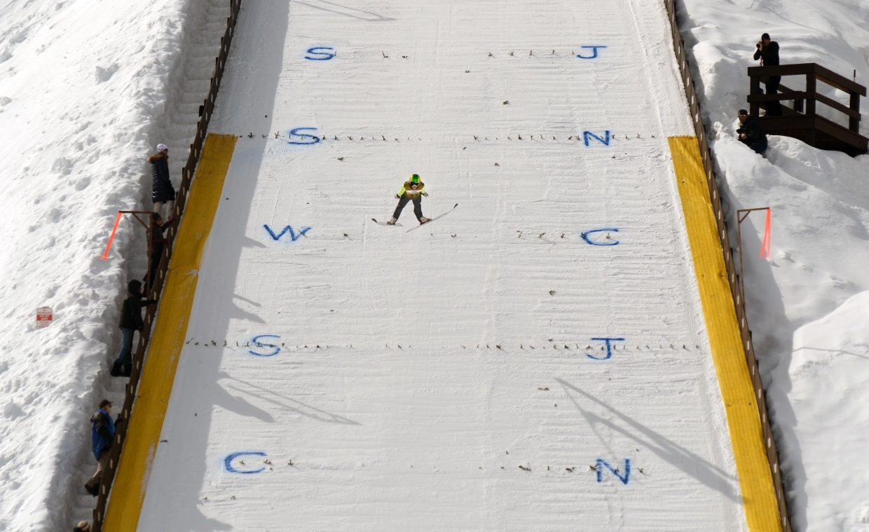 Rocky Mountain Division U16 jumper Decker Dean flies down Howelsen Hill's HS-75 during the opening day of the 2015 Ski Jumping and Nordic Combined Junior Nationals.