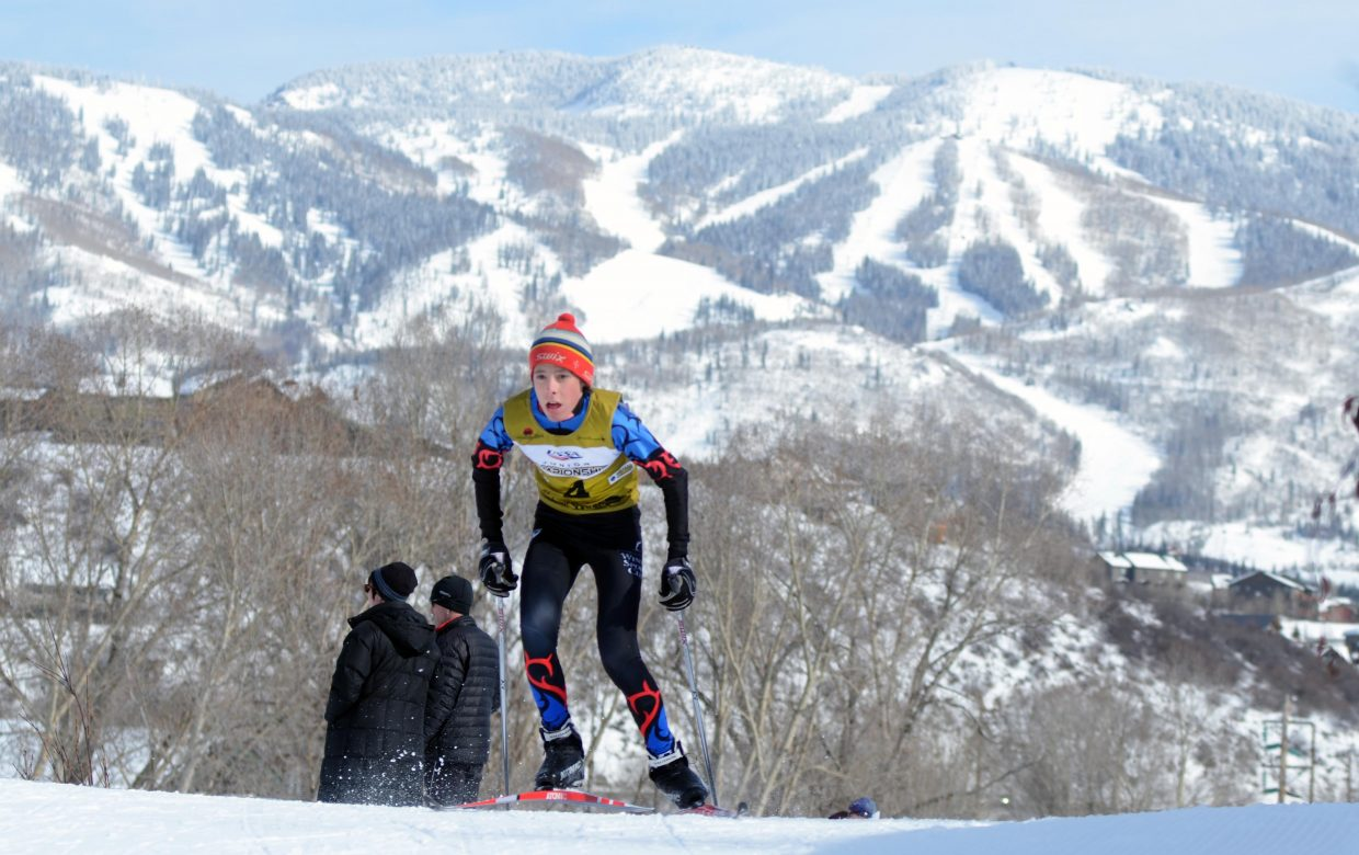 Rocky Mountain Division U16 Nordic combined athlete Elijah Vargas climbs a hill early in his race on Thursday during the 2015 Ski Jumping and Nordic Combined Junior Nationals.