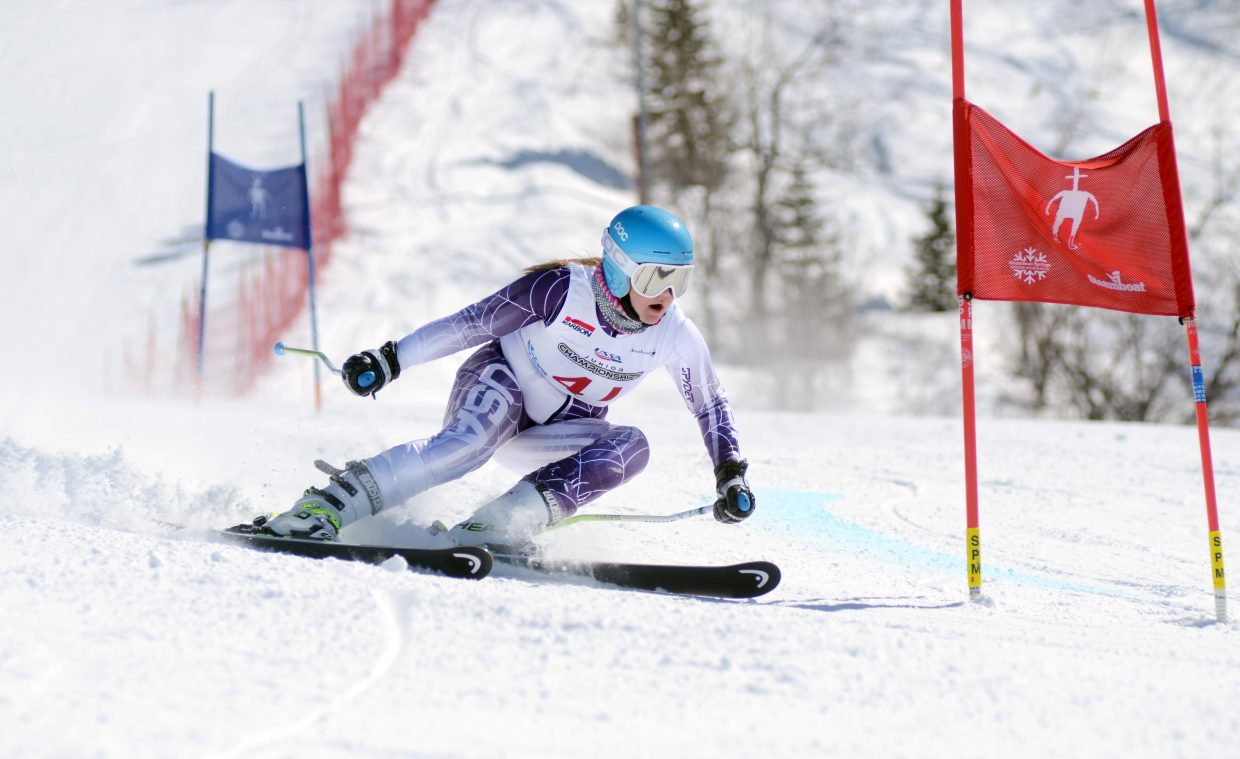 Maddy Fuhrman flies down Steamboat Ski Area's Sitz/See Me course in Friday's girls giant slalom.