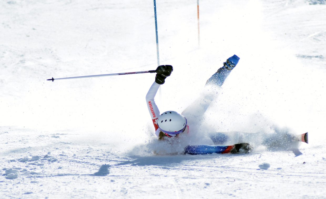 Ski Club Vail's Taylor Brandt sat comfortably in fifth place after one run at the girls U16 Alpine Championships slalom, but took a nasty spill in her second run.