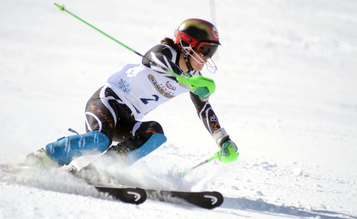 Ski Club Vail's Bridger Gile was in first place after one run in Saturday's U16 Alpine Championships slalom, but slipped to second place overall behind teammate Colby Lange.