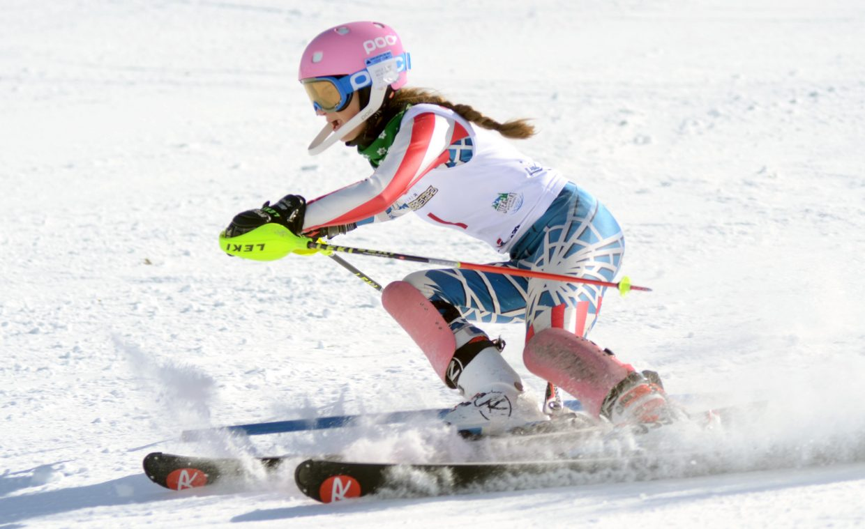 Buck Hill's Nellie Ide tied for first place in Saturday's girls U16 Alpine Championships slalom.