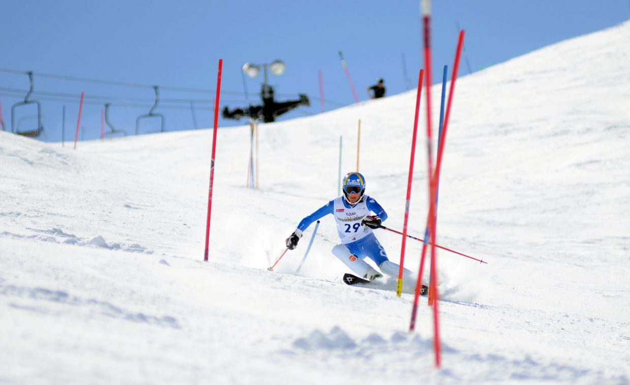 Steamboat Springs Winter Sports Club's Cole Puckett — seen here in his second run — forgot his shin guards in his opening slalom run in Saturday's U16 Rocky Mountain/Central Division Alpine Championships at Howelsen Hill. Puckett shrugged off the painful first run to take sixth overall in the championships' finale.