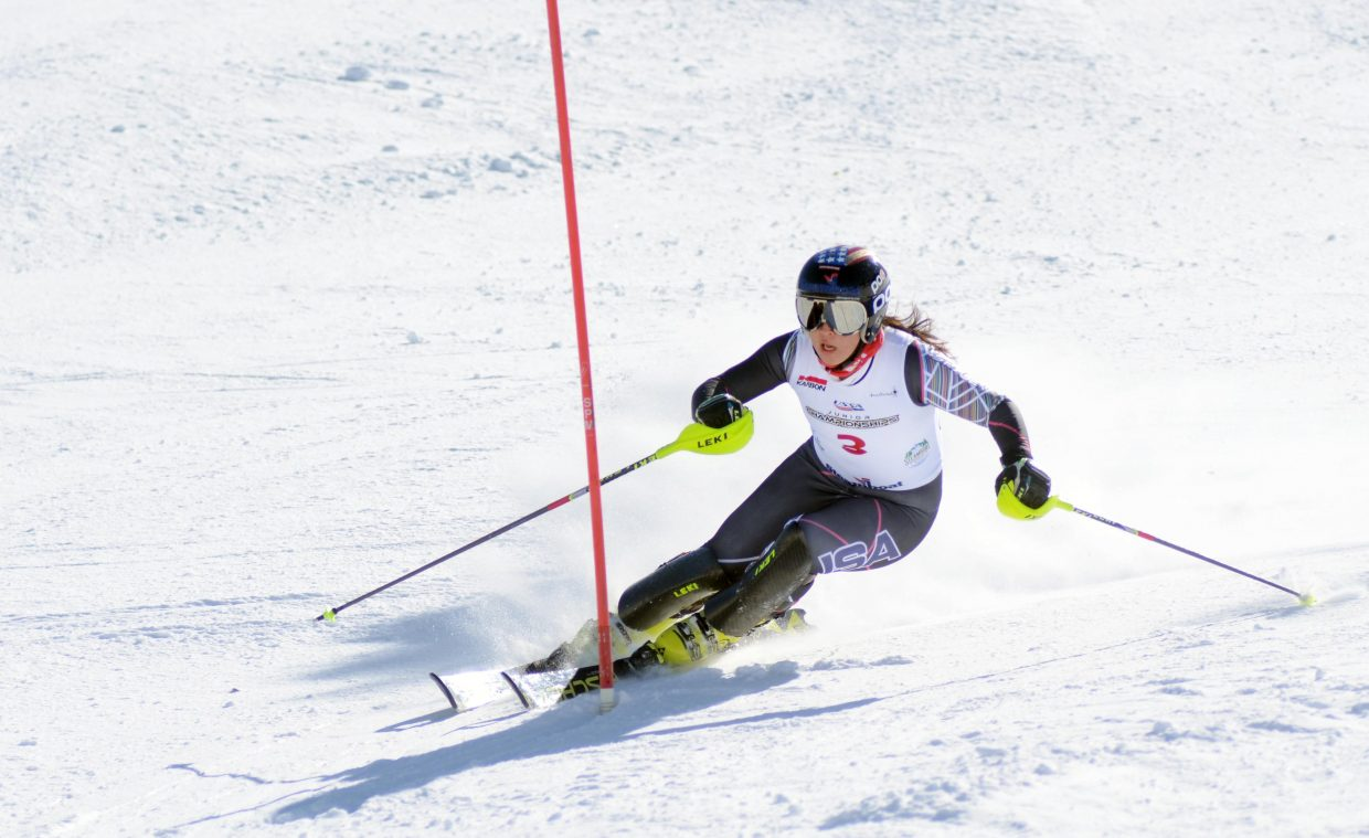 The National Training Group's Jennie Symons tied for first place in Saturday's girls U16 Alpine Championships slalom.