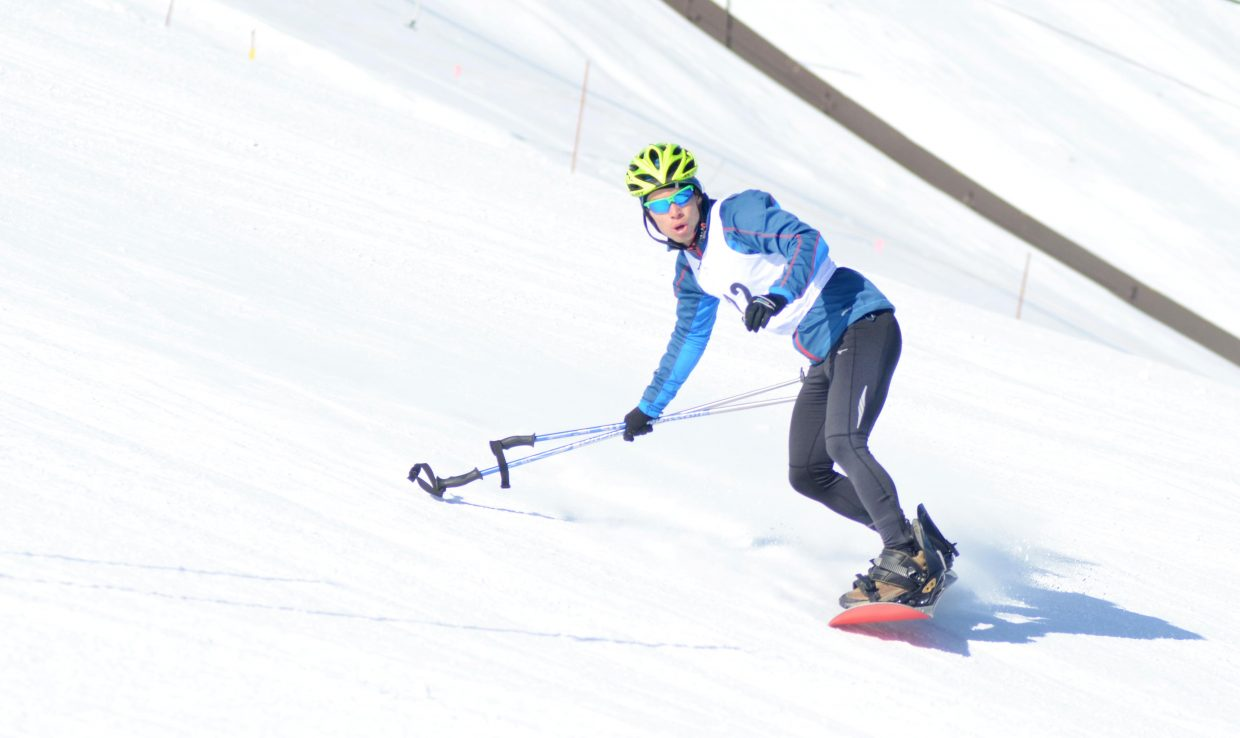 Daniel Hohs races down Howelsen Hill during the first leg of the 24th annual Steamboat Pentathlon on Sunday.