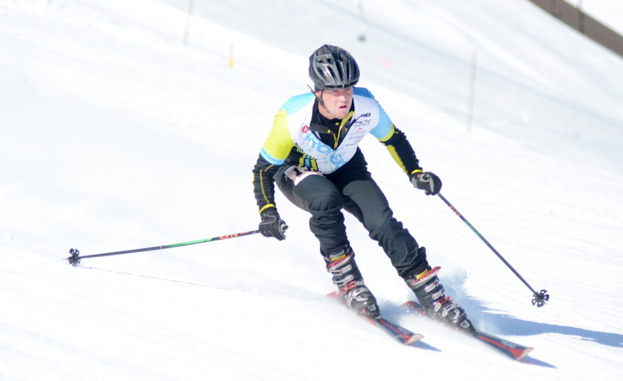 Eddie Rogers flies down Howelsen Hill during the opening leg of the 24th annual Steamboat Pentathlon on Sunday.