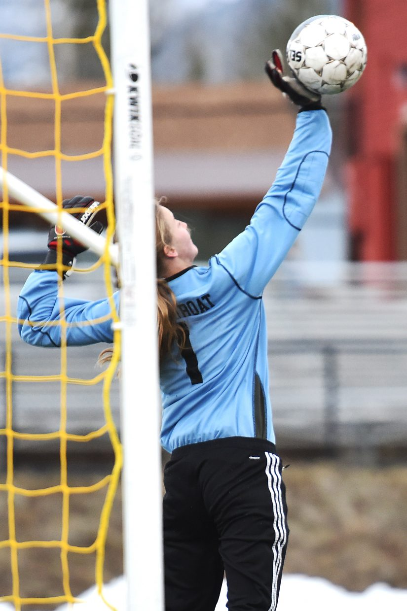 Steamboat Springs junior girls soccer player Ocoee Wilson has helped ignite the Sailors' first 3-0 start since the 2012 season. The goalkeeper knocked in the game-winning overtime goal Tuesday versus Summit then was a brick wall in front of the net Thursday against Eagle Valley.