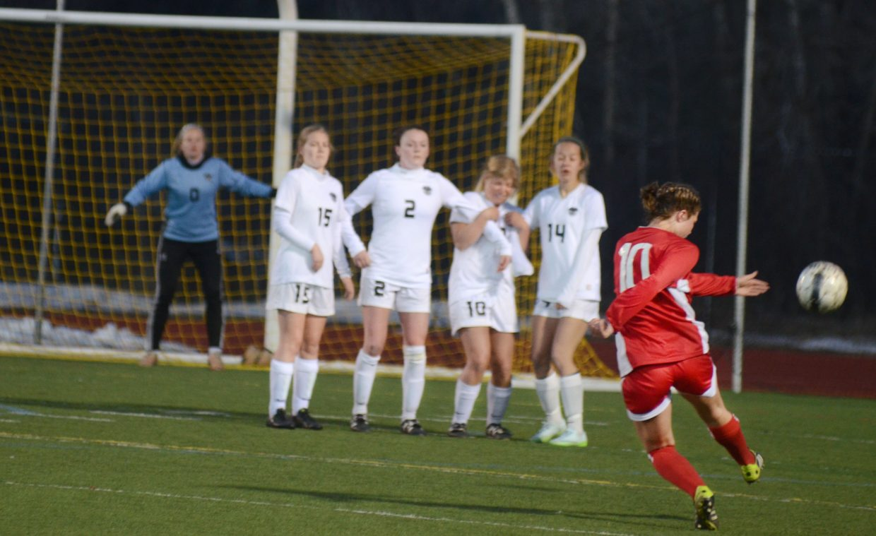 Glenwood Springs captain Grace McSwain lines up a free kick late in Steamboat Springs' 5-1 win over the Demons on Thursday.