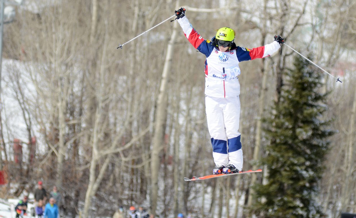 Hannah Kearney does a 360 off the final jump during Thursday's U.S. Freestyle Championships women's moguls qualifier. Kearney paced the field with the day's top one-run score.