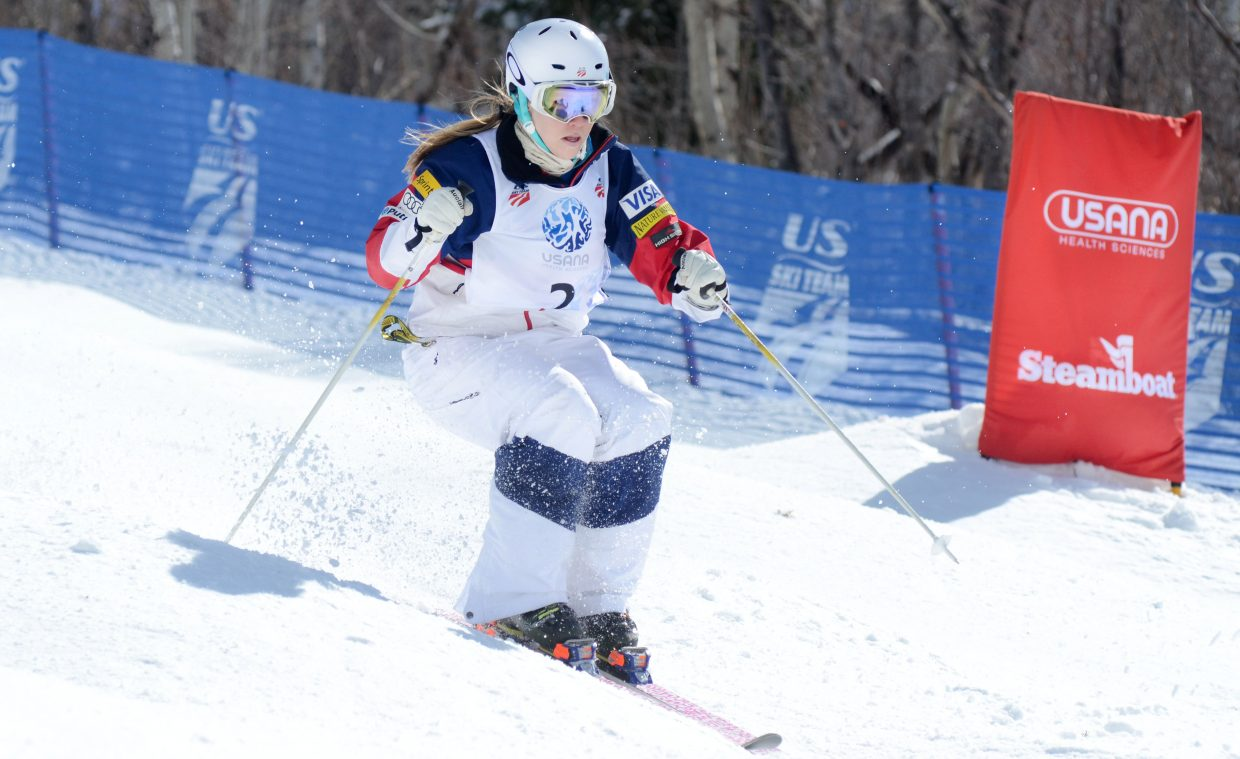 KC Oakley, of the U.S. Ski Team, had the fourth-best qualifying run in Thursday's U.S. Freestyle Championships women's moguls trials.
