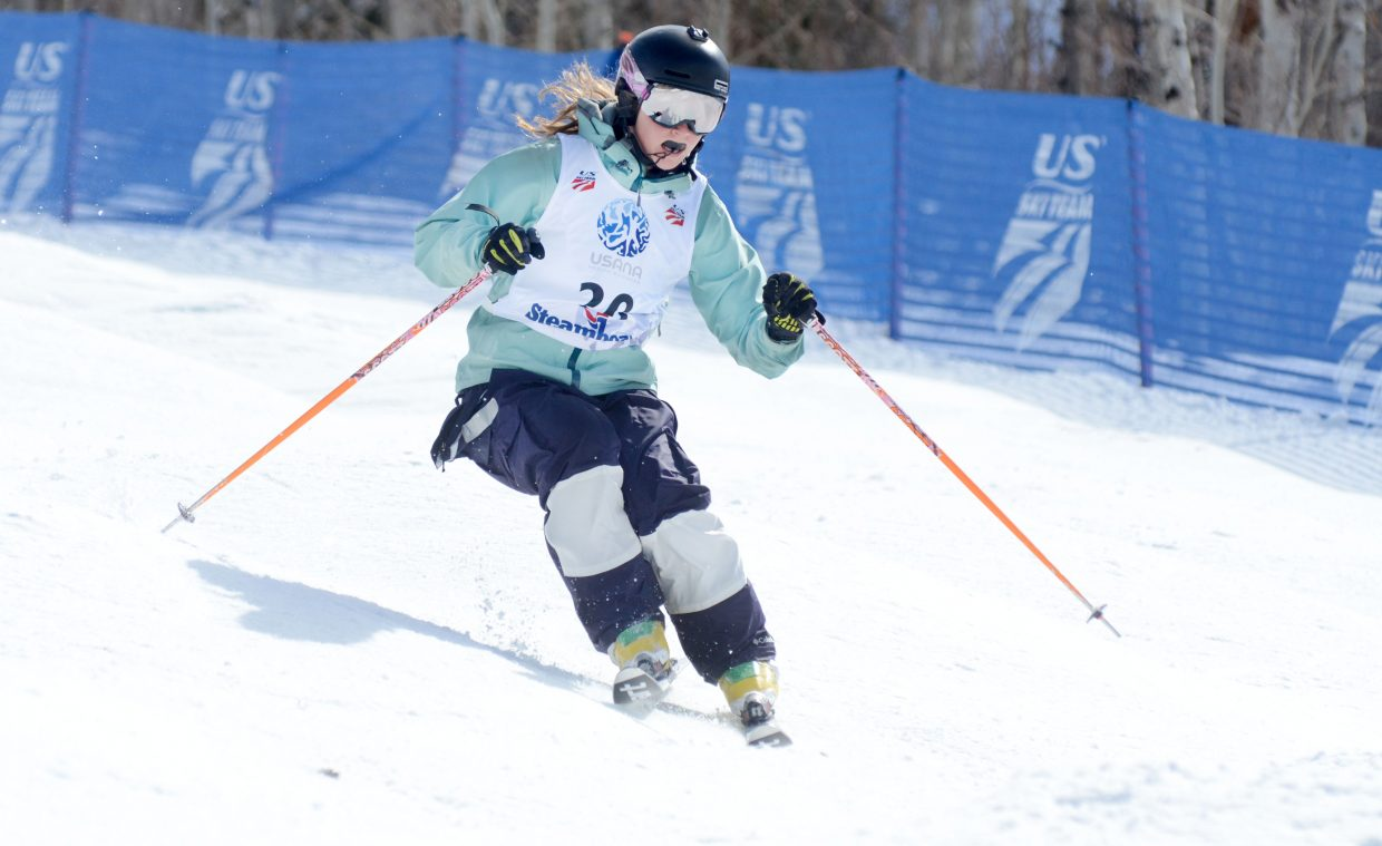 Steamboat Springs Winter Sports Club's Maggie Ryan makes her way down the Voodoo course at Steamboat Ski Area during the U.S. Freestyle Championships women's moguls qualifier.