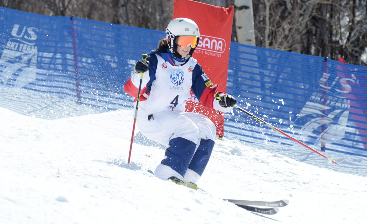 Steamboat Springs Winter Sports Club's Sophia Schwartz flies down the Voodoo course during the U.S. Freestyle Championships women's moguls qualifier Thursday. Schwartz was one of three Winter Sports Club-trained women to advance to Friday's 16-skier finals.