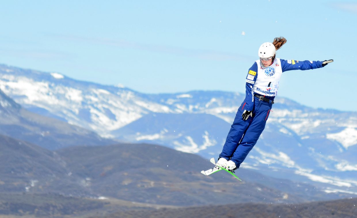 Despite a nasty early fall and a sluggish landing in the finals, Ashley Caldwell walked away with a gold medal after Saturday's U.S. aerials competition.