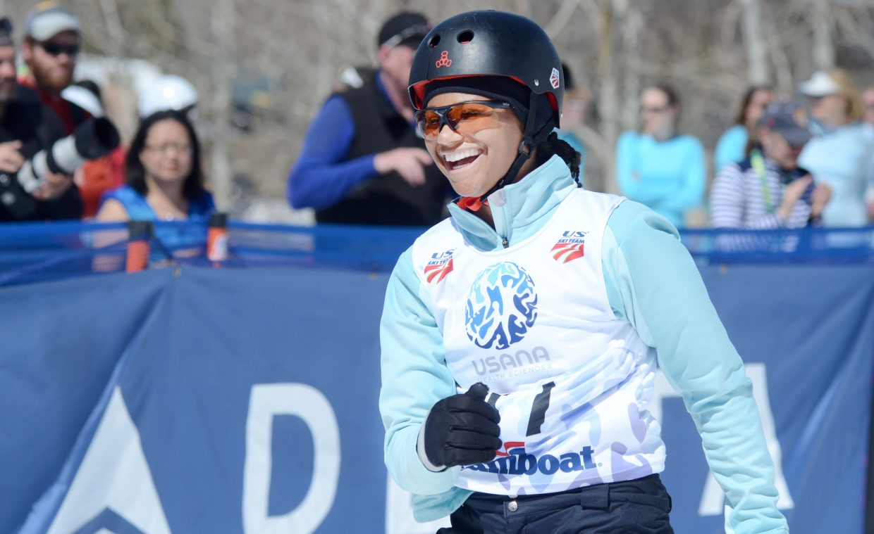 Miriah Johnson smiles after her finals jump in the U.S. aerials women's championship on Saturday at Steamboat Ski Area.