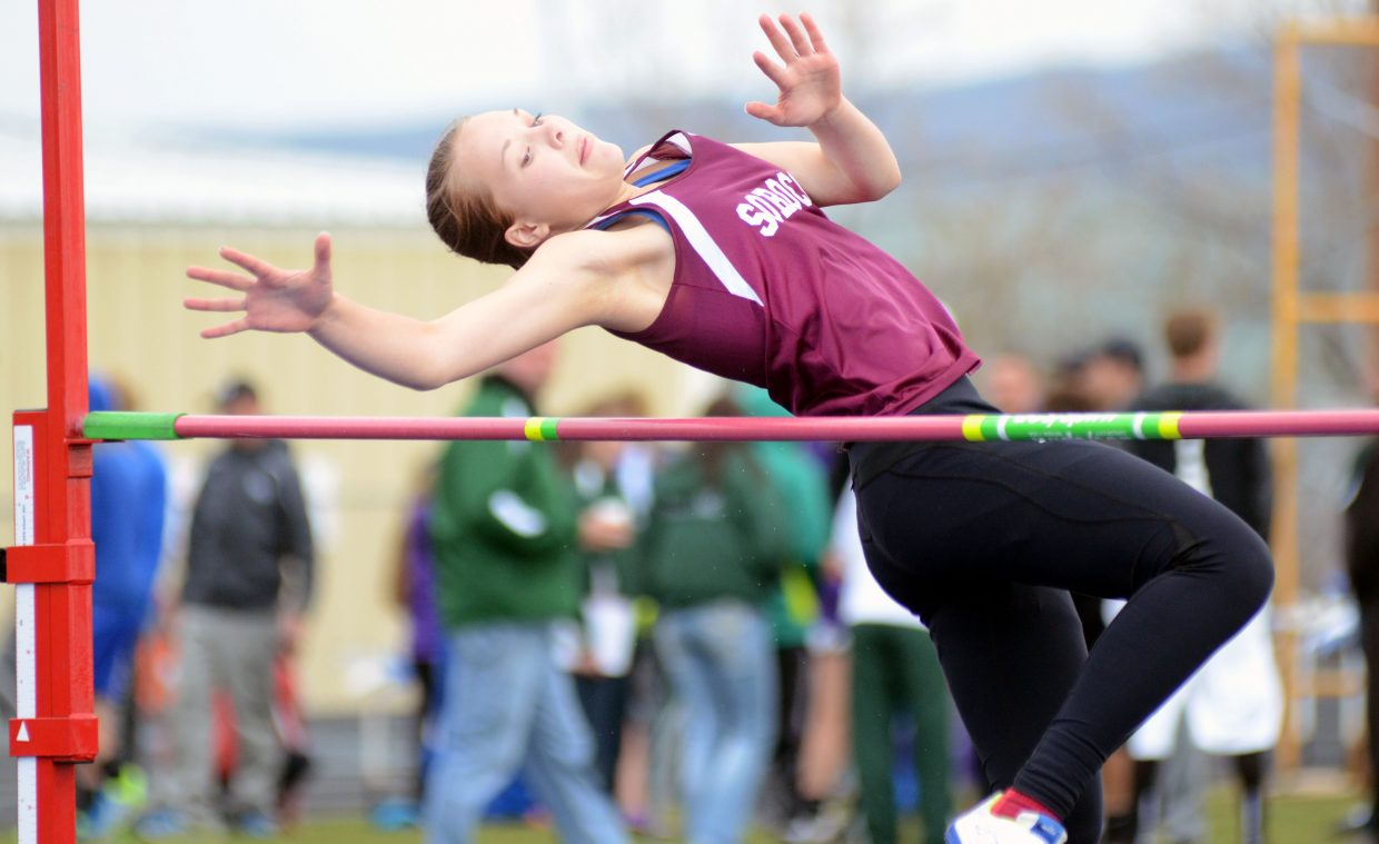 Soroco's Kali Constine attempts 4-feet-7-inches Friday in the girls high jump at the Clint Wells Invitational in Craig.
