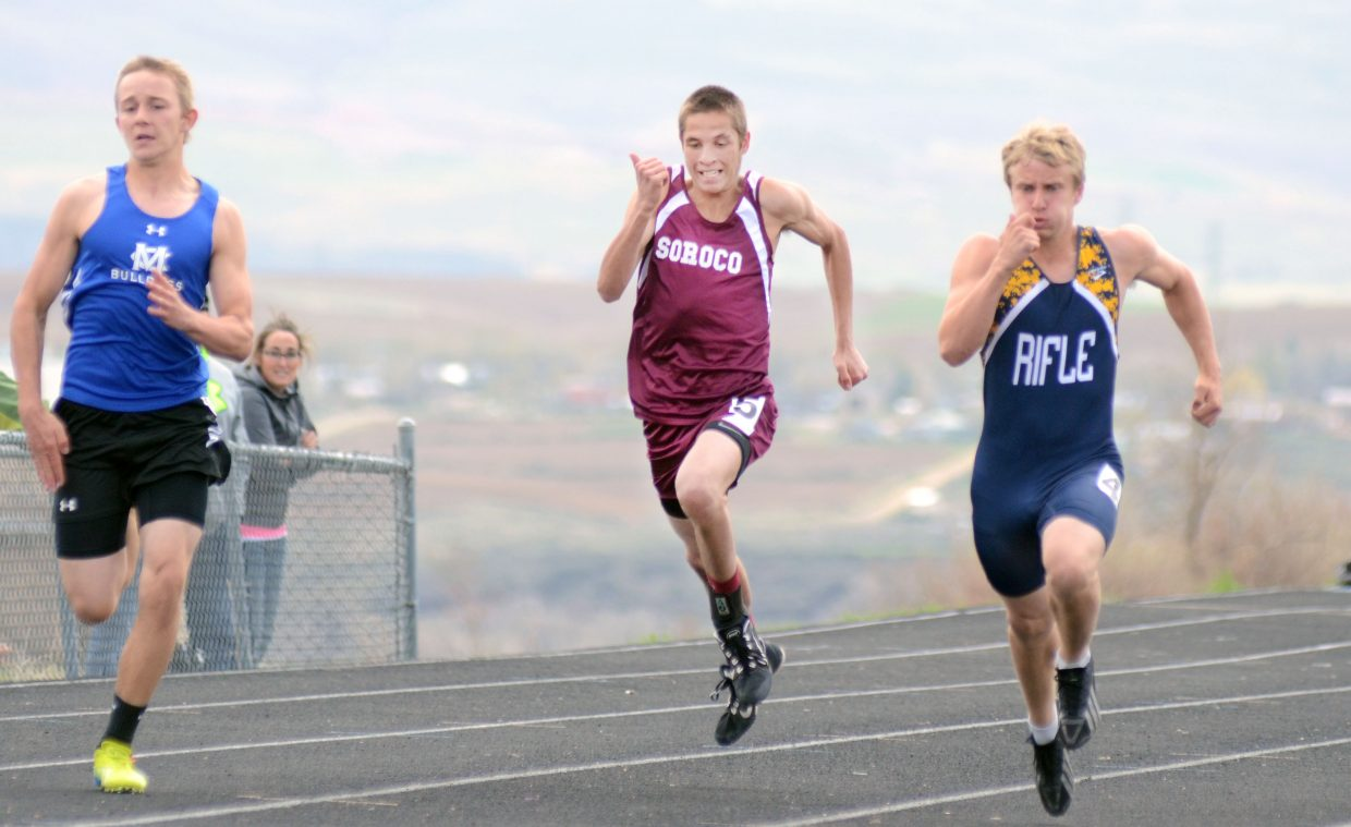 Soroco's Chance Beaty competes in the boys 100-meter dash on Friday in Craig.