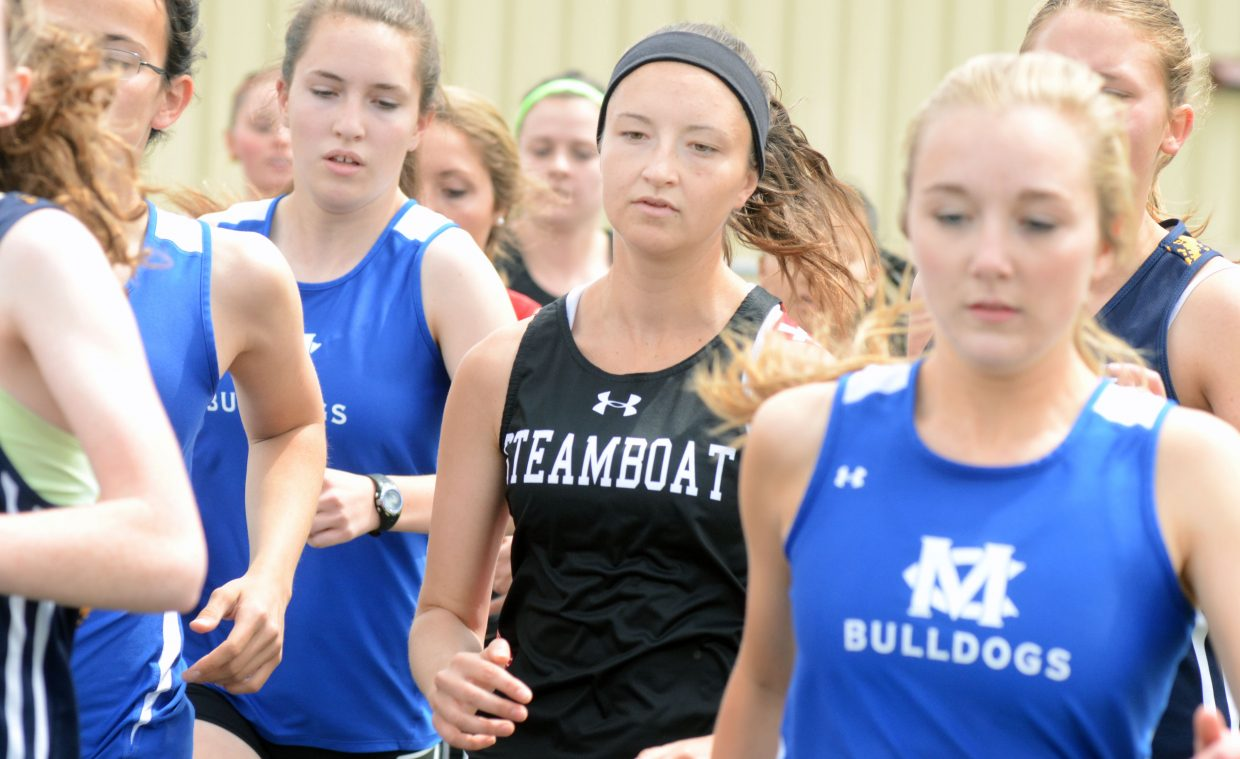 Steamboat Springs' Alex Tumminello wiggles her way through the mile pack Friday at the Clint Wells Invitational in Craig. Tumminello finished second in the event.