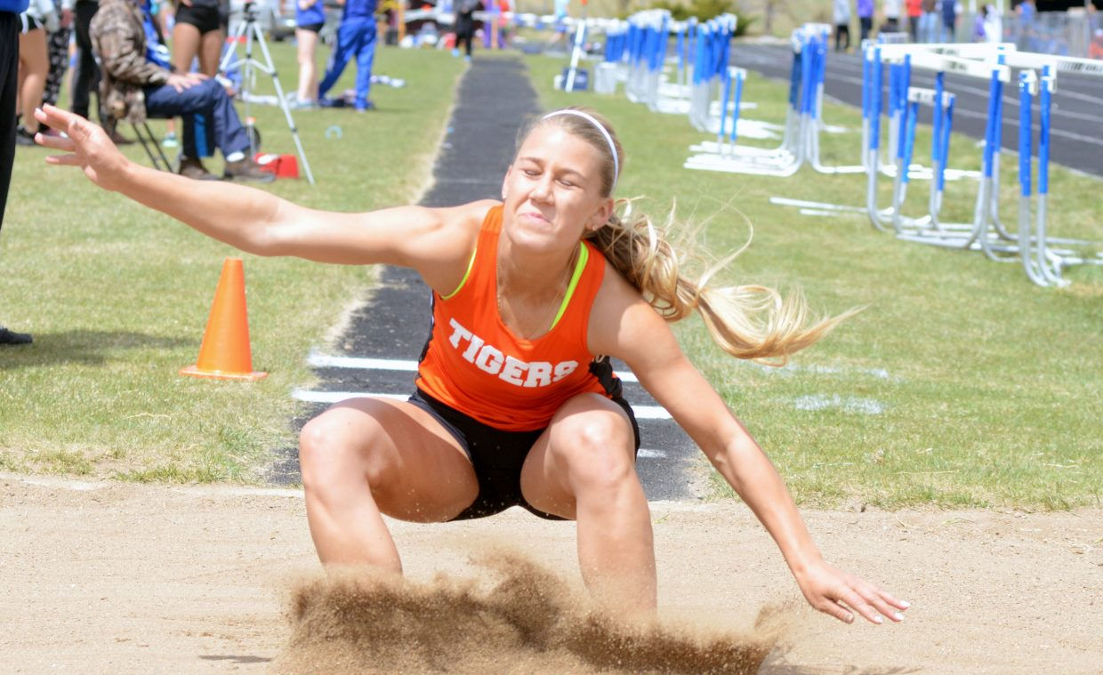 Hayden's Jewel Vreeman sticks one of her jumps in Friday's Clint Well's Invitational long jump. Vreeman took third in the event.