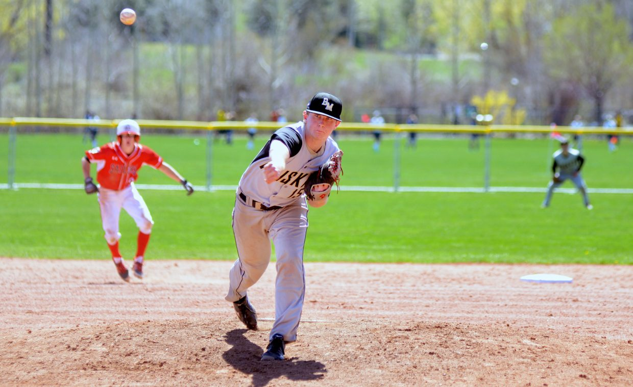 Battle Mountain pitcher Hunter Meier tosses a pitch with Steamboat Springs' Canon Reece on second base in Game 1 of the teams' doubleheader on Saturday.