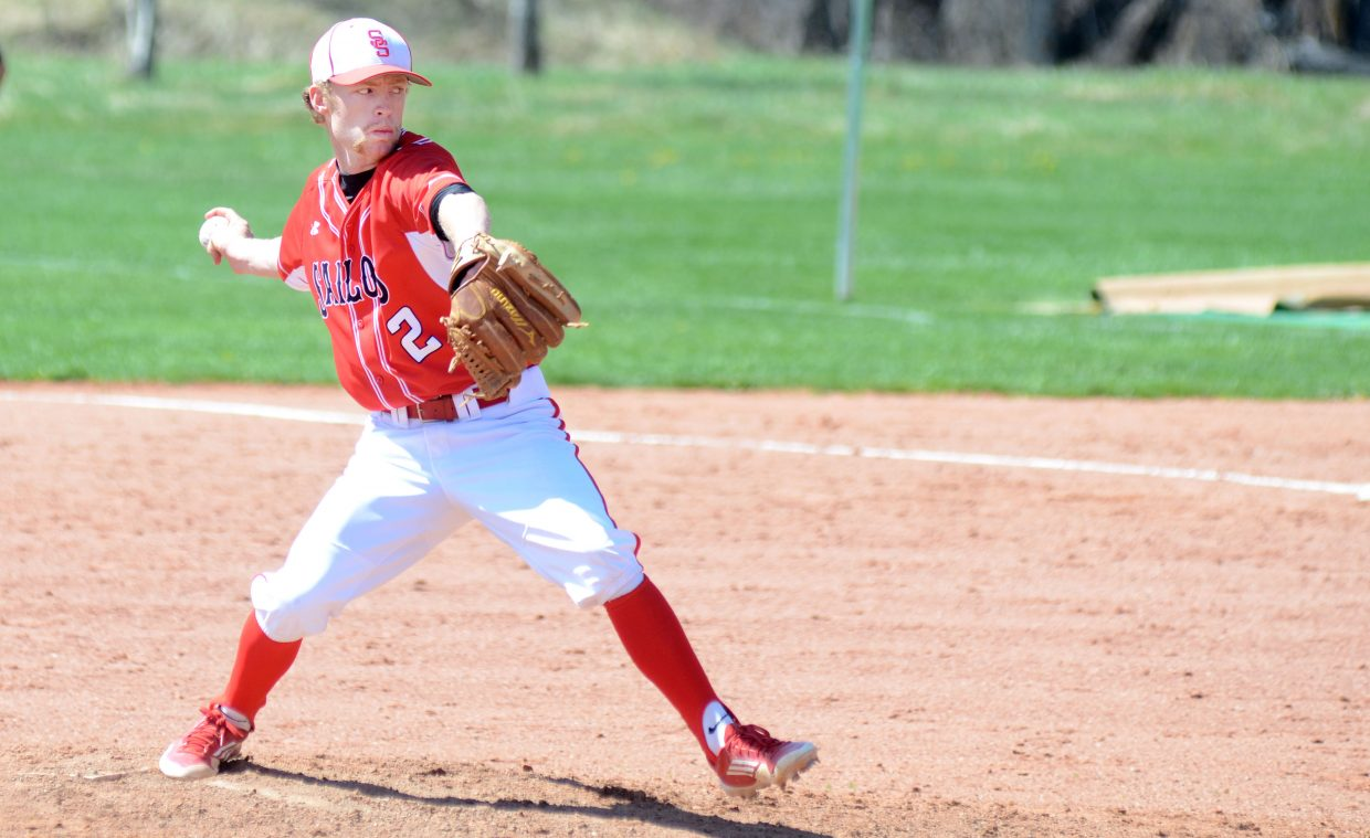 Steamboat Springs' Jesse Pugh pitched a complete Game 1 on Saturday, leading the Sailors to a 14-3 win over Battle Mountain.