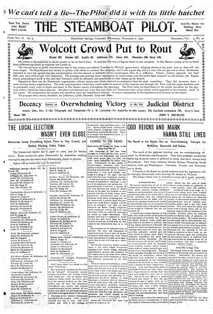 Front page from 1900 Steamboat Pilot