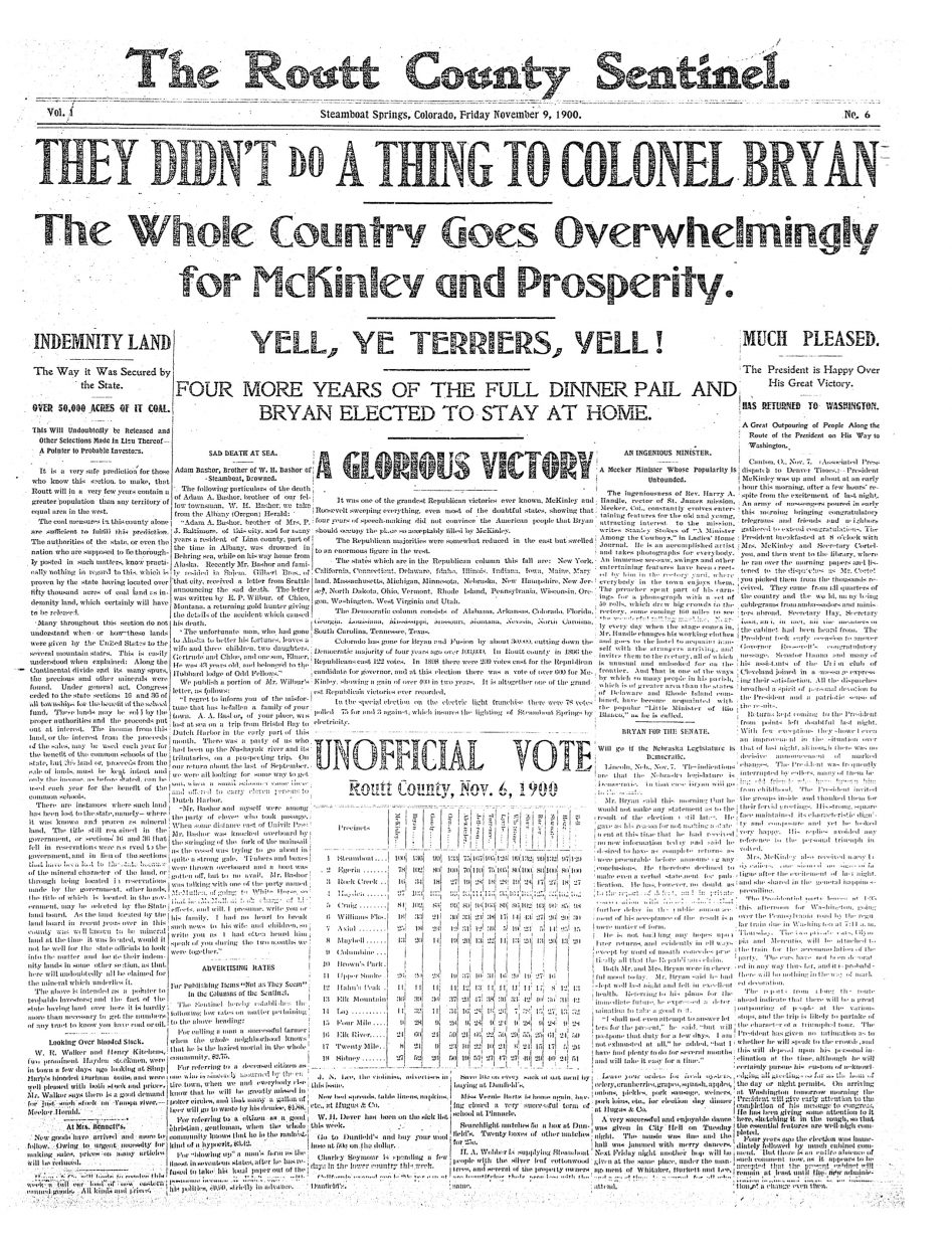 Front page from 1900 Routt County Sentinel