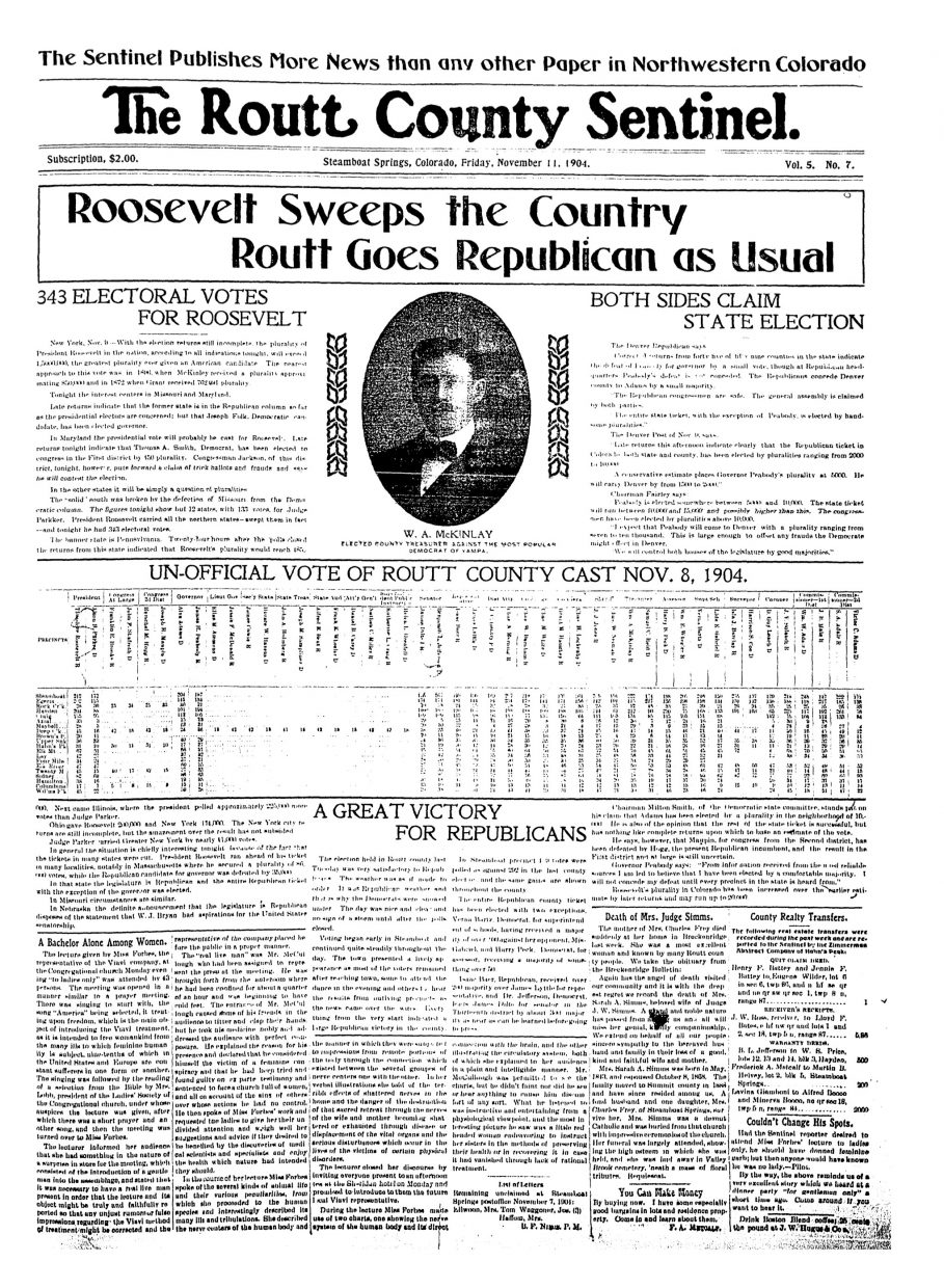 Front page from 1904 Routt County Sentinel