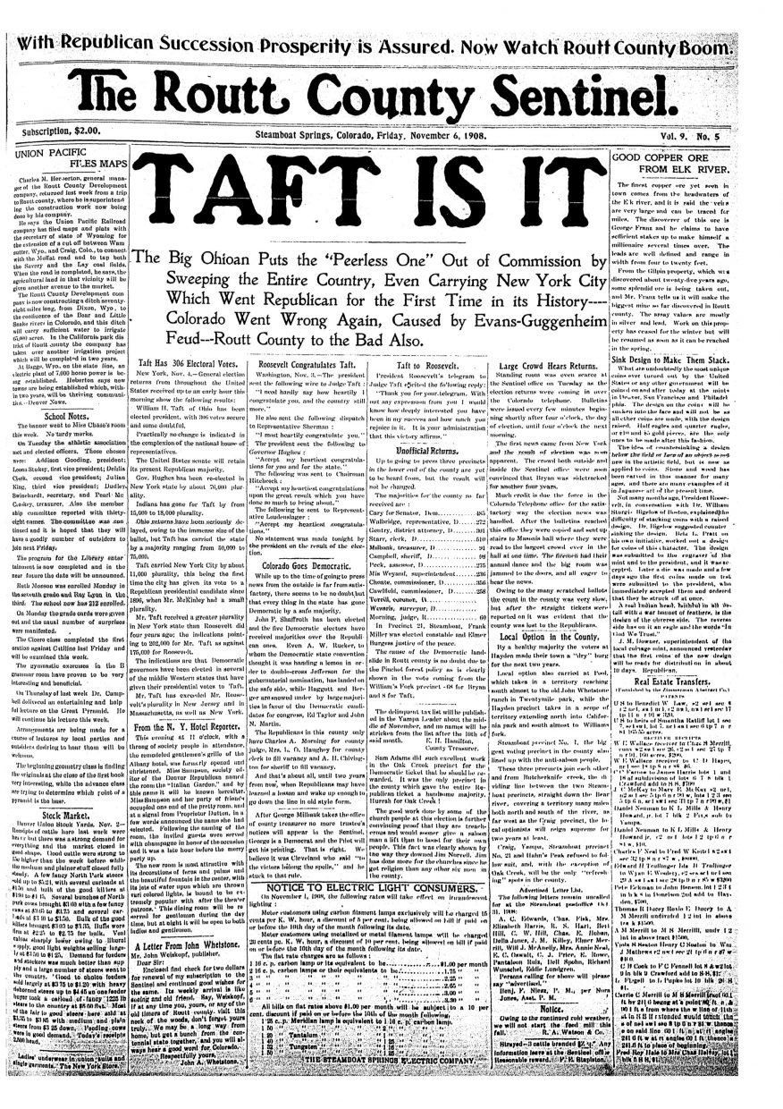 Front page of 1908 Routt County Sentinel
